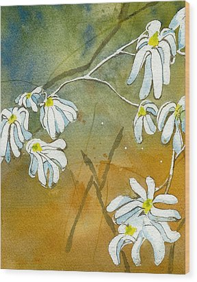 Wood Print featuring the painting Magnolias 2 Of 3 by Lynn Babineau