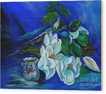 Magnolias And Cream Wood Print by Jenny Lee