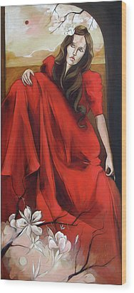 Magnolia's Red Dress Wood Print by Jacque Hudson