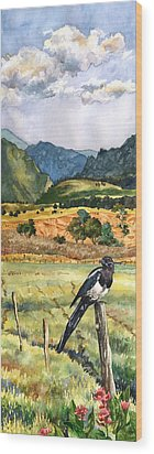 Magpie Wood Print by Anne Gifford