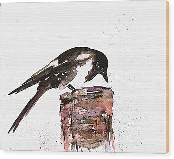 Magpie On A Stump Wood Print by Carolyn Doe