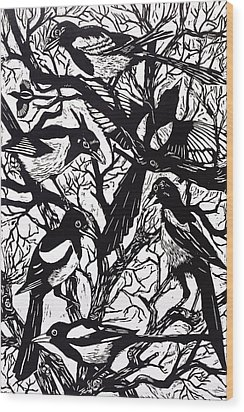 Magpies Wood Print by Nat Morley