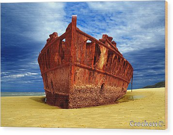 Maheno Shipwreck Fraser Island Queensland Australia Wood Print by Gary Crockett