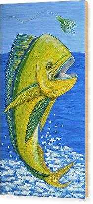 Mahi Mahi Wood Print by JoAnn Wheeler