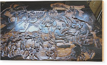 Wood Print featuring the relief Mahjhong In The Park by Debbi Saccomanno Chan