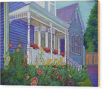 Mahone Bay Hollyhocks Wood Print