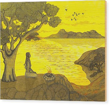 Maiden And The Mountains Wood Print by Judy Cheryl Newcomb