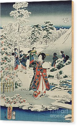 Maids In A Snow Covered Garden Wood Print by Hiroshige