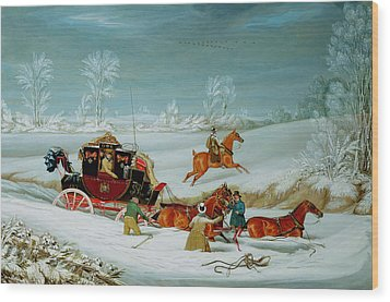 Mail Coach In The Snow Wood Print by John Pollard