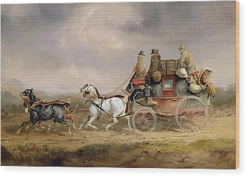 Mail Coaches On The Road - The Louth-london Royal Mail Progressing At Speed Wood Print by Charles Cooper Henderson