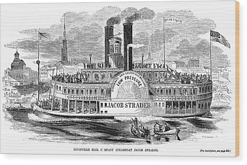 Mail Steamboat, 1854. /nthe Louisville Mail Company Steamboat Jacob Strader. Wood Engraving, 1854 Wood Print by Granger