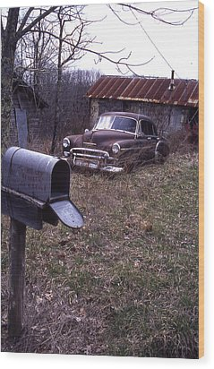 Mailbox Car Wood Print by Curtis J Neeley Jr
