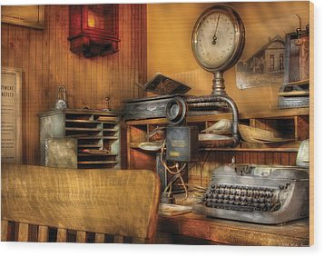 Mailman - In The Office Wood Print by Mike Savad