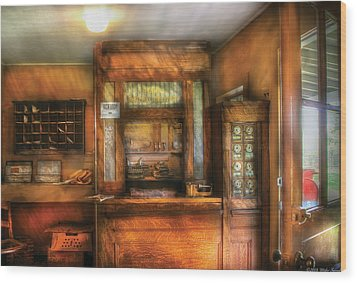 Mailman - The Post Office Wood Print by Mike Savad