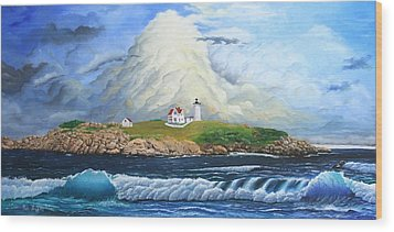 Wood Print featuring the painting Main Lighthouse by Mike Ivey