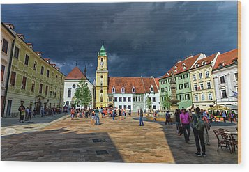 Main Square In The Old Town Of Bratislava, Slovakia Wood Print