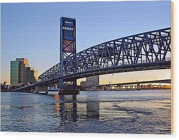 Main Street Bridge At Sunset Wood Print by Rick Wilkerson