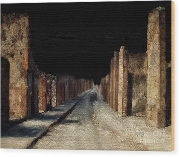 Wood Print featuring the digital art Main Street, Pompeii by Lois Bryan