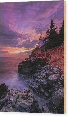 Maine Bass Harbor Lighthouse Wood Print by Juergen Roth