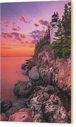 Wood Print featuring the photograph Maine Bass Harbor Lighthouse Sunset by Ranjay Mitra