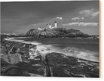 Maine Cape Neddick Lighthouse In Bw Wood Print