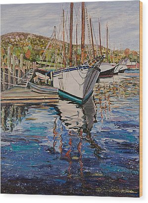Maine Coast Boat Reflections Wood Print by Richard Nowak