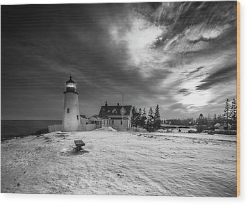 Maine Coastal Storm Over Pemaquid Lighthouse Wood Print