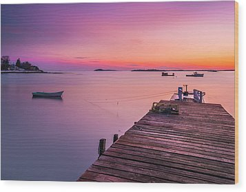 Wood Print featuring the photograph Maine Cooks Corner Lobster Shack At Sunset by Ranjay Mitra