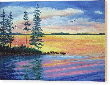 Maine Evening Song Wood Print by Laura Tasheiko