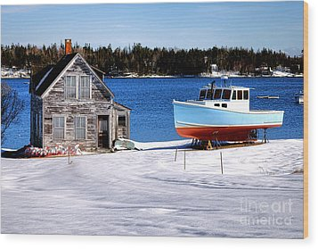 Wood Print featuring the photograph Maine Harbor Winter Scene by Olivier Le Queinec