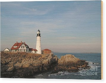 Maine Lighthouse Wood Print by Alberta Brown Buller