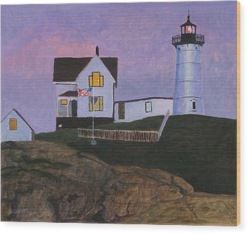 Maine Lighthouse Wood Print by Robert Bissett