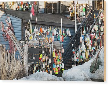 Wood Print featuring the photograph Maine Lobster Shack In Winter by Ranjay Mitra