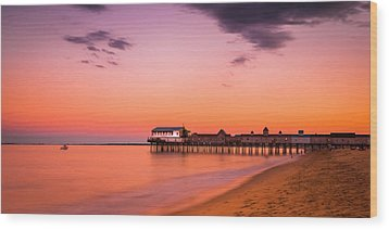 Maine Old Orchard Beach Pier At Sunset Wood Print