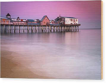 Wood Print featuring the photograph Maine Old Orchard Beach Pier Sunset  by Ranjay Mitra