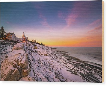 Wood Print featuring the photograph Maine Pemaquid Lighthouse In Winter Snow by Ranjay Mitra
