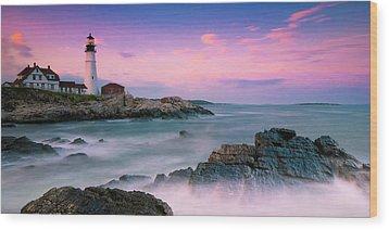 Maine Portland Headlight Lighthouse At Sunset Panorama Wood Print