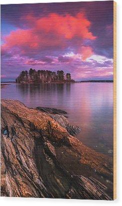 Maine Pound Of Tea Island Sunset At Freeport Wood Print