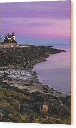 Wood Print featuring the photograph Maine Prospect Harbor Lighthouse Sunset In Winter by Ranjay Mitra