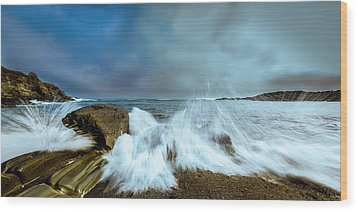 Maine Rocky Coast During Storm At Two Lights Wood Print