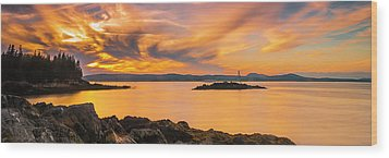 Maine Rocky Coastal Sunset In Penobscot Bay Panorama Wood Print
