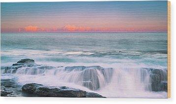 Maine Rocky Coastal Sunset Panorama Wood Print
