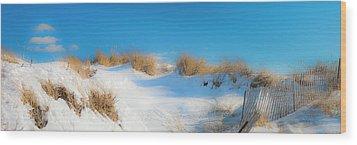 Maine Snow Dunes On Coast In Winter Panorama Wood Print