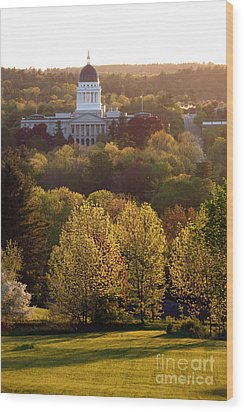 Maine State Capitol At Sunset Wood Print by Olivier Le Queinec