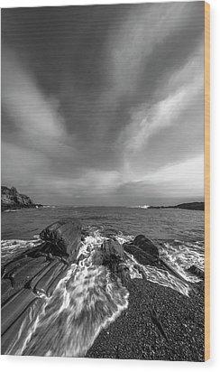 Maine Storm Clouds And Crashing Waves On Rocky Coast Wood Print