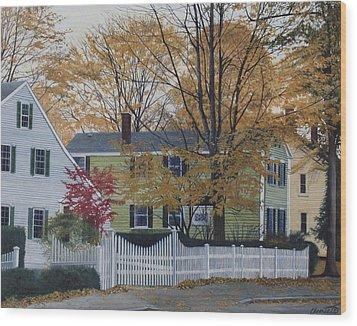 Autumn Day On Maine Street, Kennebunkport Wood Print