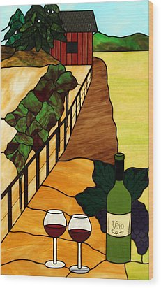 Maine Vineyard Wood Print by Jane Croteau