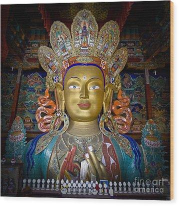 Maitreya Buddha Wood Print by Hitendra SINKAR