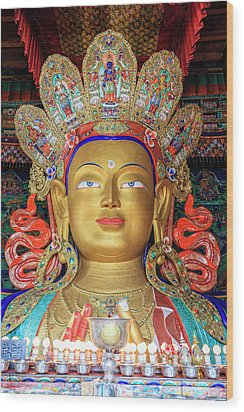 Wood Print featuring the photograph Maitreya Buddha Statue by Alexey Stiop