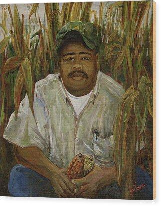 Maize Farmer Wood Print by Linnie Aikens